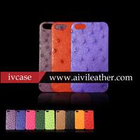 Genuine ostrich skin housing for iphone 5, pretty colorful ostrich skin leather case for iphone 5