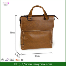 brown leather official briefcase bag/zipper briefcase/small men's briefcase bag