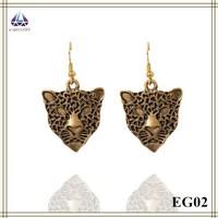 Fashion Jewellery 2015 Leopard Shape Pendant Earring Antique Earring