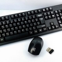Mini 2.4G Wireless Keyboard + Mouse Kit for Laptop PC Desktop black