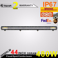 High Power 4D 480w 4x4 offroad led driving light for truck trailer SUV ATV 44 inch car roof led lights bar