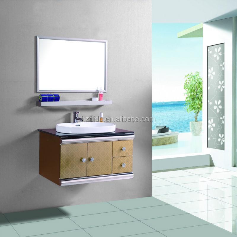 Tempered black glass countertop bathroom vanity made of 304 ss cheap price bathroom vanities for Tempered glass bathroom countertop