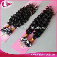 Hot Selling Top Quality indian remy hair kinky curly micro ring extensions
