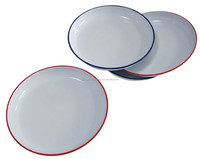 22CM Enamel Rice/Pasts Plate - White with colorful lip