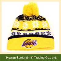 W-1023 team color cheap custom crochet pom sports knit pattern pom beanie hat