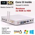 Mini pc torre processador intel core i3 Fanless pc i3 resolução USB 3.0 suporte 4 K computadores baratos Linux compatível