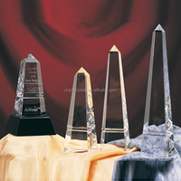 Wholesale Clear And Blank Crystal Tower Shape Crystal VIP Trophy With Black Crystal Base