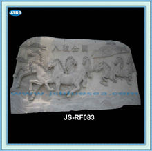 Stone Carving Relief With Chinese Eight Horses Sculpture