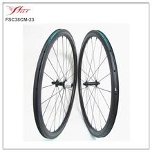 1350g/set Carbon fiber clincher wheelset, 38mmx23mm carbon wheels for road bike , Basalt braking surface