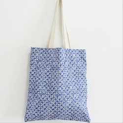 TT0049 Reshine China National Style Blue Copper Cash Printed Canvas Fabric Shopping Bag Beach Tote Bag For Teenage Girls