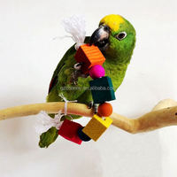 Pet Bird Parrot Toys Colorful Wooden Blocks Case Biting String Toy For Lovely Parakeet Canary Budgie Birds