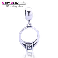925 sterling silver lanyard floating charm locket manufacturer for bracelet charms with ring DIY fine jewelry wholesale
