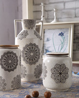 Impress snowflake design ceramic vase with two handles, matt glazed jar and urn for garden, home decor