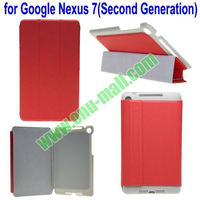 Three Folding Flip pu leather stand case cover for google nexus 7