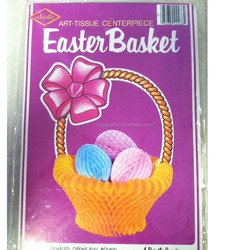 Vintage Easter Die Cut paper HoneycombTable Decoration Easter Bunny Eggs in Basket
