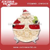 christmas santa plate with plastic holder