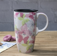 Butterfly Ceramic travel mug with plastic lid for motorist 18 ounce