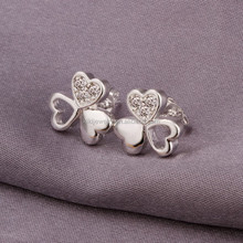 Beautiful Lucky Sterling Silver Zircon Three Leaf Shape Stud Earrings Jewelry
