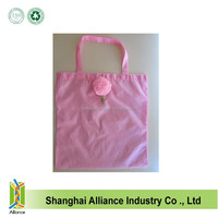 Fashion rose shape folding shopping bags new design polyester handle bags hot sale rose shopping shoulder bags
