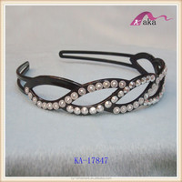 fashion design cheap price ladies rhinestone plastic headbands,plain headbands for decorating