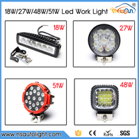 Wholesale Waterproof Offroad 18w 27w 48w 51w Auto LED Working Led Light Driving Light Truck Tractors Machine Motorcycle Light