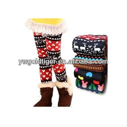 Newest Spring Winter Wholesale Colored Jeggings Kids Fashion Three Quarter Pants Warm Thick Fleece Lined Girls Leggings