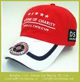 Bordar personalizada gorra de béisbol carta rojo / blanco promoción gorra de béisbol