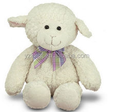 "Cute Plush Huggable Soft Lamb with Bow Soft Stuffed Customized Toy Lamb with Realistic Polyester ""Fur"""
