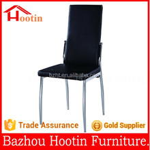 modern high quality leahter metal chrome legs dining chairs