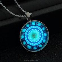 Chinese Zodiac turnplate lighting pendant necklace, punk chain necklace(SWTJU613)