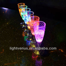 Factory sell flashing led champagne glass party glow champagne glow clear champagne lighting cup