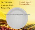 El almidón de maíz plato desechable biodegradable vajilla de plástico