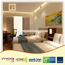 Economic Hazelnut Style Double Bedroom Hotel Motel Furniture