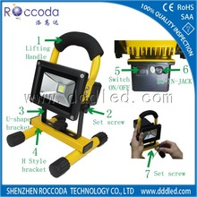 Portable Rechargeable LED Work Light 12V 24V Battery Powered IP65 Waterproof Outdoor 20W 10W Rechargeable LED Flood Light