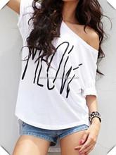 latest best quality new design fashion screen print women custom low neck T shirts hot sale