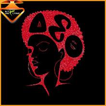 Beautiful wholesale afro girl glitter rhinestone transfers delta