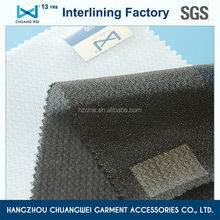 China 100% Polyester Locknit Fabric double dot fusible woven interlining