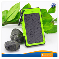 AWC606 Waterproof 1A output long lasting high capacity power bank with led flashlight 6000mah solar charger power bank