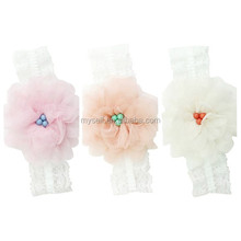 Fashion New Design Knitted Warm Soft Large Flower Crystal Bridal Headband