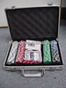 1000pcs 11.5g chips ,5 Dice Poker Chip Set in Silver Round Corner Aluminium Case/Casino Poker set