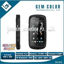 MTK6572 Dual Core 3G touch screen 2600mAh For Android OS IP67 Mobile Phone
