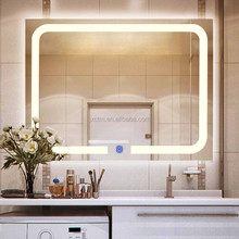 Illuminated bathroom touch screen LED light mirror