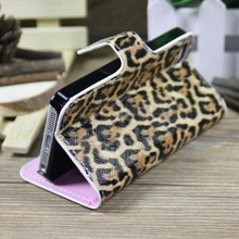 2014 Wallet style fashion leopard print cell phone case for iphone 5 with stand