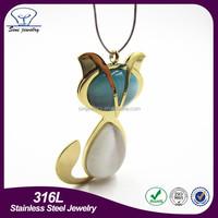 Wholesale fashion agate geode druzy silver cat pendant