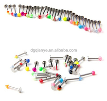 Assorted Labret Lip Bar Chin Lip Rings Piercing 1.2mm Surgical Steel 16 Guage Body Jewelry