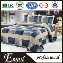 China trade factory large stock dark blue square cream patchwork quilts bedding set