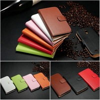 Genuine leather mobile phone bag pouch case for Samsung Galaxy S5 I9600 with wallet and bill site card slots