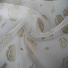 2015 factory direct supply rosette flocking organza fabric