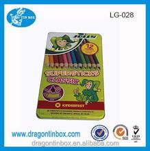 Stationery wholesale tin box,Cheap hot sales 12 Crayon tin boxes , pencil cases