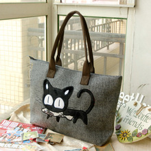Fashion casual girls canvas tote bags with cartoon cat pattern